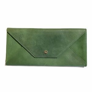 ABAS Vintage Green Leather Envelope Wallet Clutch